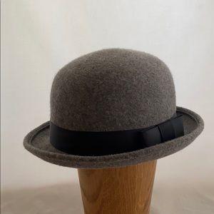 Grey wool bowler hat